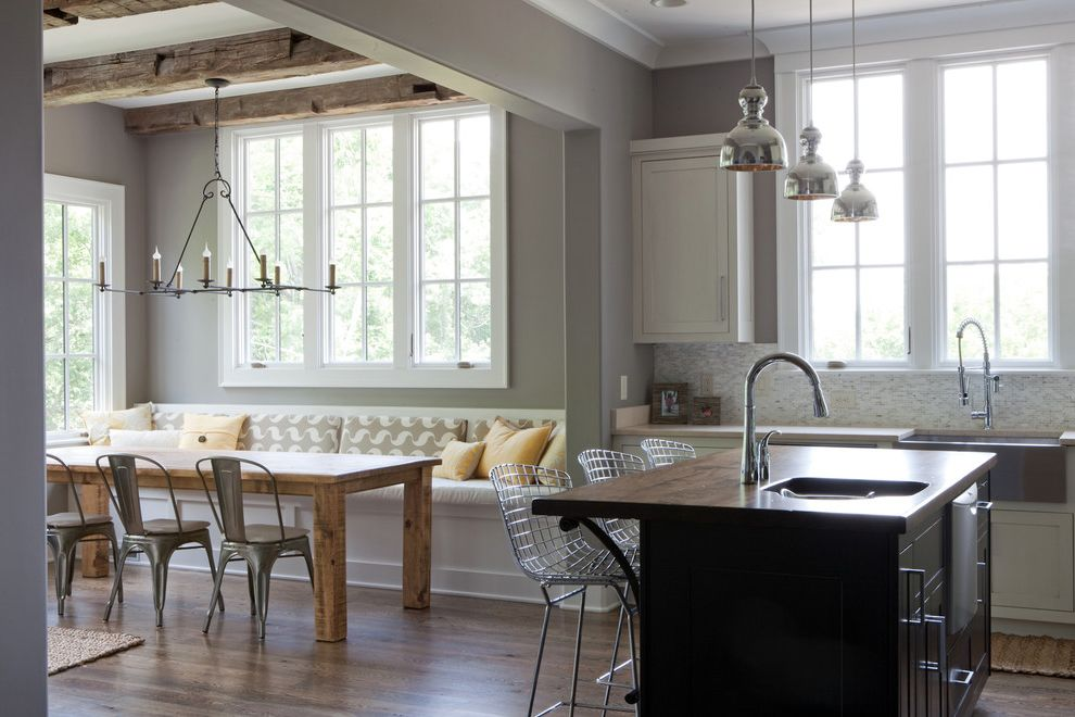 Tj Maxx Stools   Contemporary Kitchen Also Banquette Bertoia Stools Breakfast Room Built in Seating Chrome Pendant Lights Farm Sink Farm Table Galvanized Chairs Gray Rustic Wood Beams Wire Stools Wood Countertop