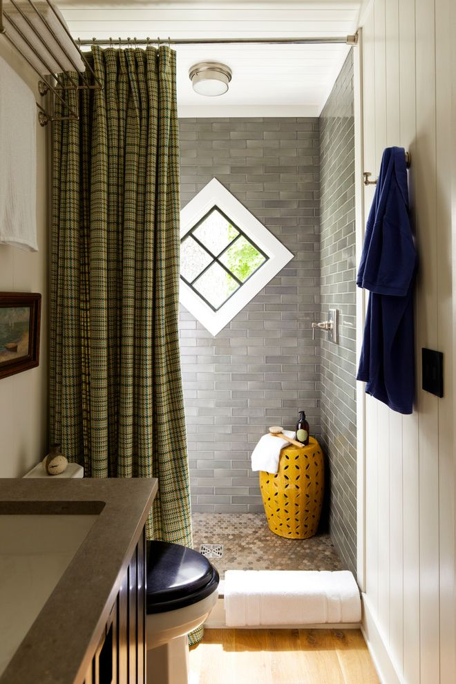 Tj Maxx Stools with Beach Style Bathroom  and Black Toilet Seat Brown Countertop Framed Artwork Hotel Shelf Medium Wood Flooring Plaid Shower Curtain Robe Hook Shower Stool White Wall Window in Shower