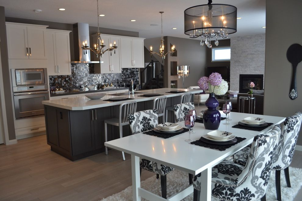 Tj Maxx Stools with Transitional Kitchen Also Black and White Dining Chair Chandelier Chrome Barstool Grey Cabinets Kitchen Island Light Wood Floors Stainless Steel Tile Backsplash Upholstered Dining Chairs White Cabinets White Dining Table White Rug
