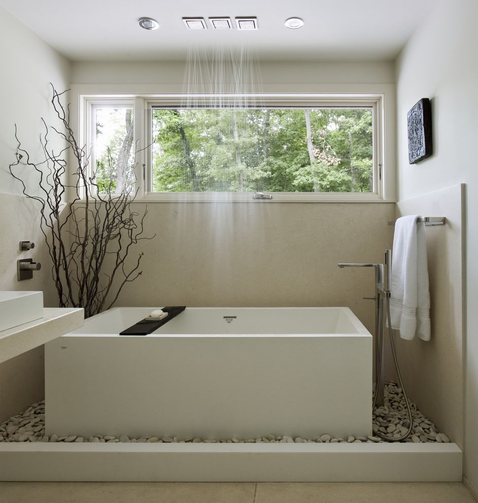 Tlc Plumbing Albuquerque   Contemporary Bathroom Also Bathroom Window Branches Freestanding Tub Minimalist Neutral Tones Rain Showerhead River Pebbles Spa Towel Bar Zen