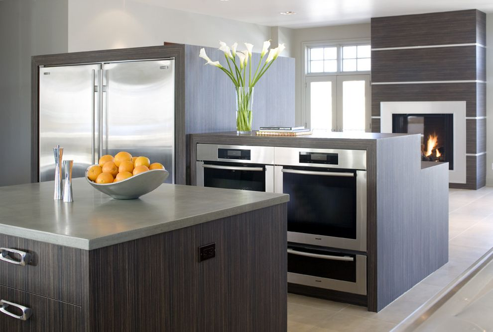 Top Rated Side by Side Refrigerators   Modern Kitchen Also Colorado Denver Fireplace Gray Kitchens Laminate Soft Modern Stainless Steel Appliances Tile Floor Waterfall Counter Wood Zebrawood