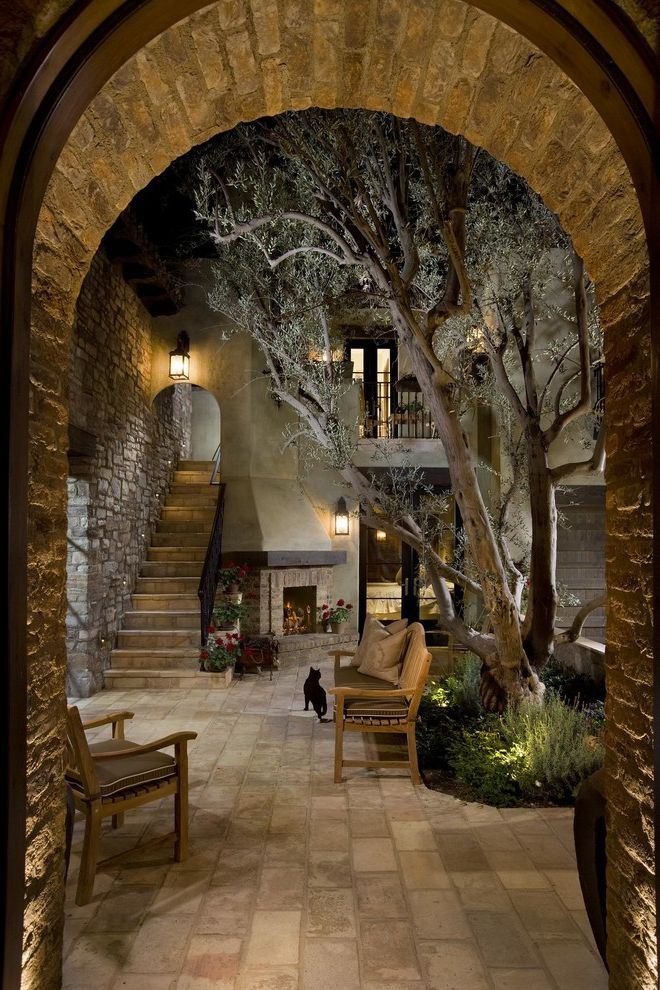 Toscana of Desert Ridge with Mediterranean Patio Also Black Cat Courtyard Outdoor Fireplace Outdoor Lighting Patio Furniture Stone Floor Stone Staircase Tree Wood Bench
