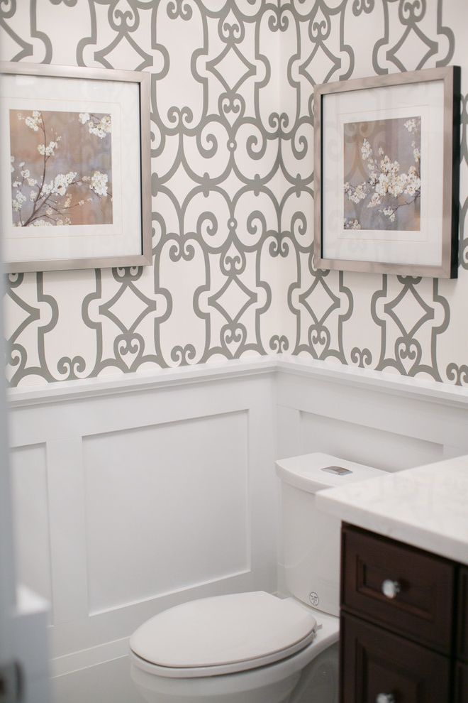 Toto Cst412mf   Contemporary Powder Room  and Bathroom Powder Room Schumacher Wallpaper