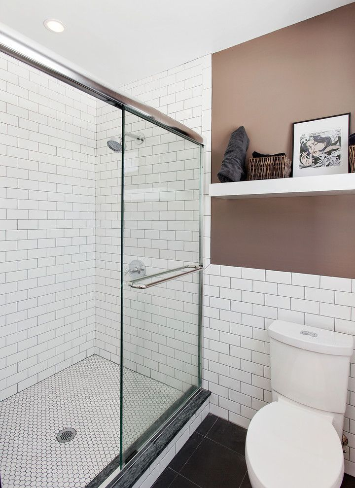 Toto Cst454cefg 01 with Contemporary Bathroom and Master Bathroom Subway Tile