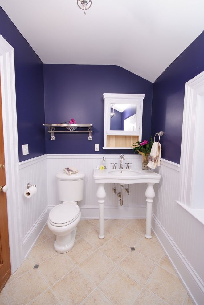 Toto Cst454cefg 01 with Traditional Bathroom and Beadboard Blue Claw Foot Tub Console Sink Indigo Medicine Cabinet Small Bathroom Small Bathtub Tile Floor Wainscot White Painted Trim Window Ledge Wood Door