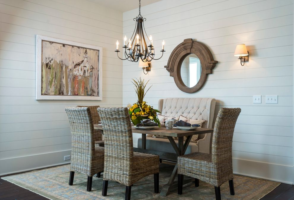 Town and Country Greenwood Sc   Traditional Dining Room  and Beadboard Chandelier Mirror Rustic Rustic Table Sofa White Sofa White Wall Wicker Chair Wood Table Wood Wall