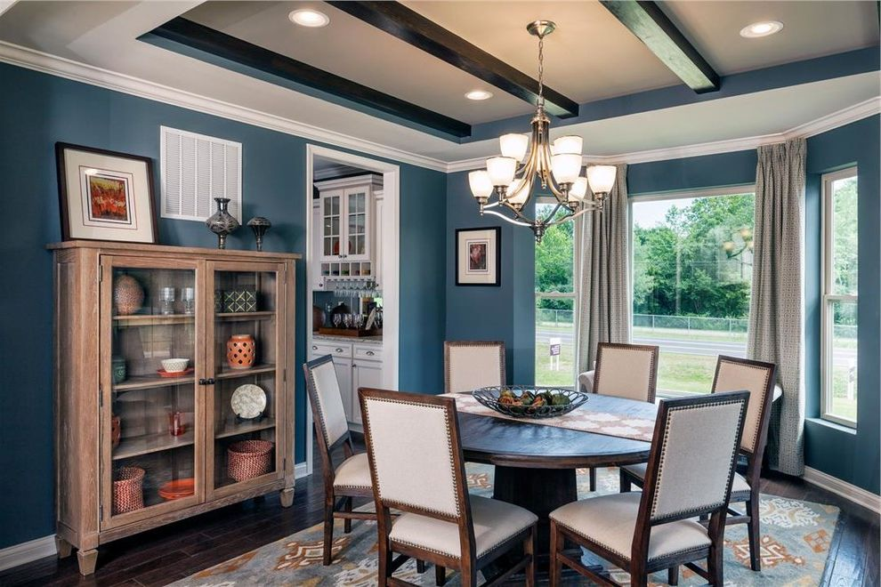 Trails of Shaker Run   Traditional Dining Room Also Blue Ceiling Beams Chairs Curtains Desk Hard Wood Floors Light Fixtures Table