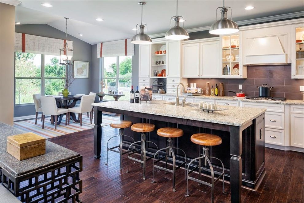 Trails of Shaker Run   Traditional Kitchen Also Chairs Curtains Desk Granite Hard Wood Floors Light Fixtures Table Wall Mounted Cabinet White Cabinet