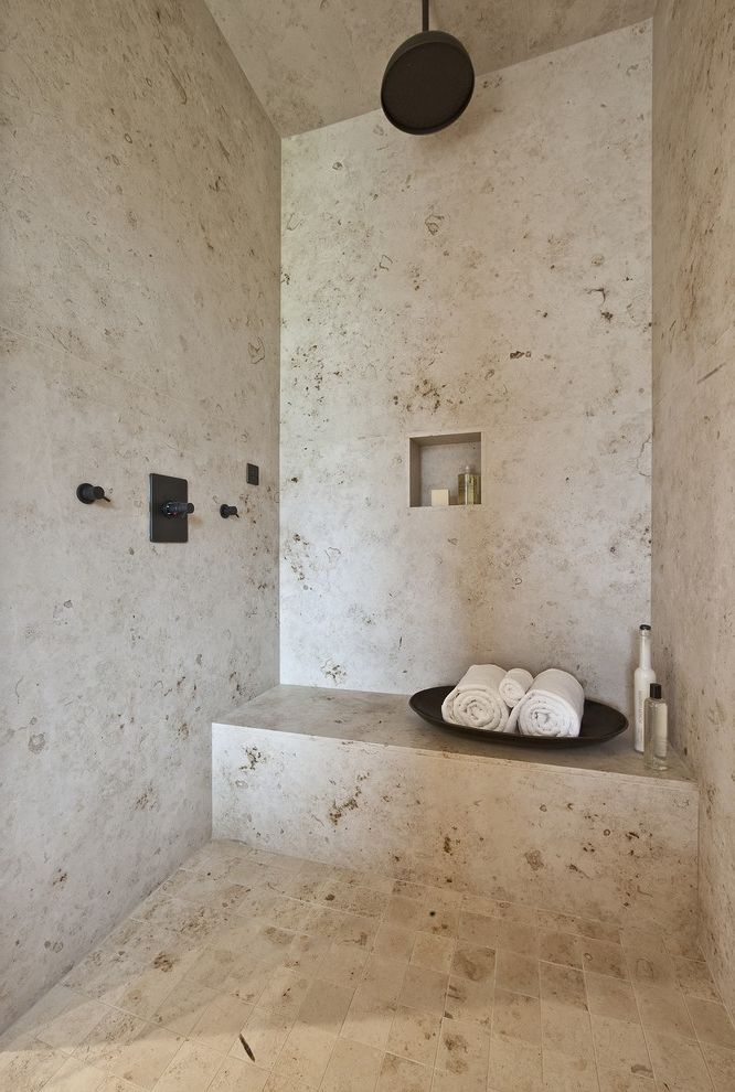 Travertine Tile Pros and Cons   Contemporary Bathroom Also Bathroom Bench Lodge Master Niche Oil Rubbed Bronze Rain Shower Shower Shower Bench Shower Seat Slab Spa Tile Travertine