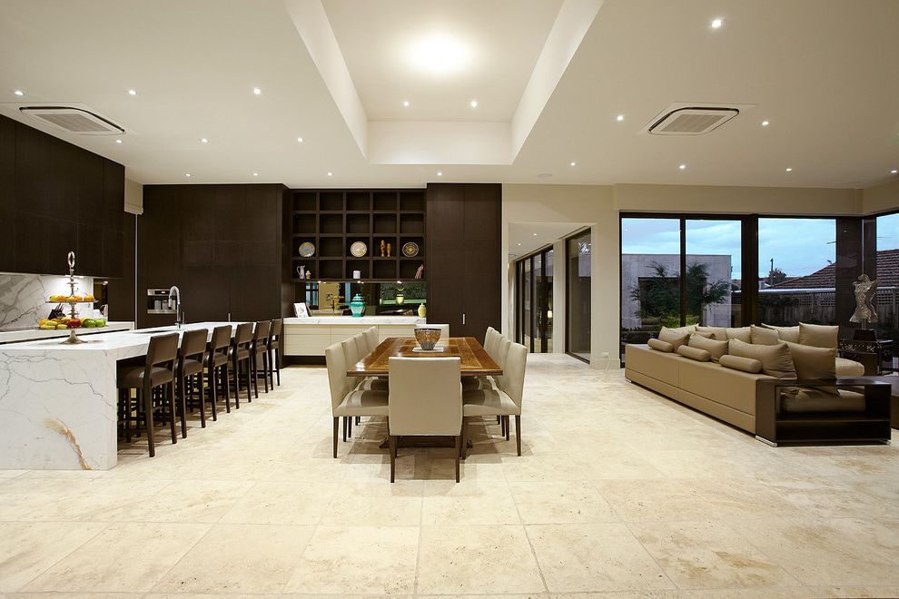 Travertine Tile Pros and Cons   Contemporary Dining Room Also Dining High Ceilings Kitchen Marble Meals Open Plan Stone Tiles