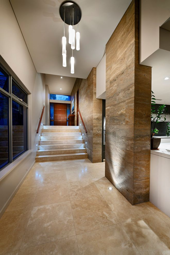 Travertine Tile Pros and Cons   Contemporary Hall  and Beige Wall Clustered Pendant Light Entry Hallway Hallway Stone Accent Wall Stone Floor Stone Steps Uplighting