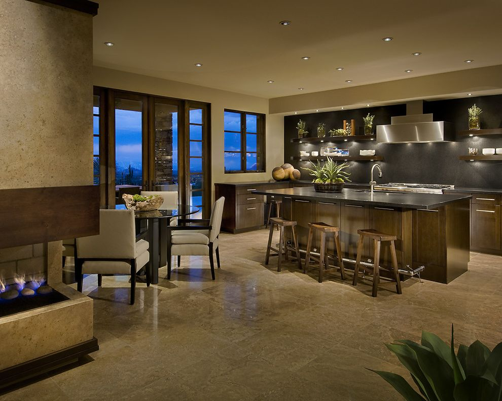 Travertine Tile Pros and Cons   Contemporary Kitchen  and Bar Stool Dining Fireplace French Door Fuel Hood Island Side Light Stainless Travertine