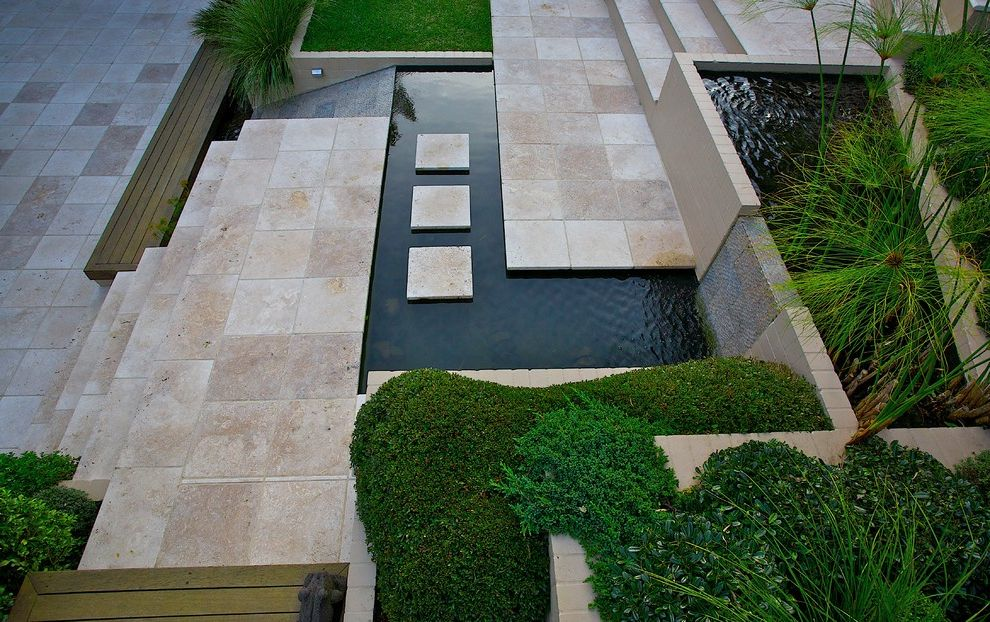 Travertine Tile Pros and Cons   Contemporary Landscape Also Clouds Garden Paving Plants Pond Steppers Water Feature