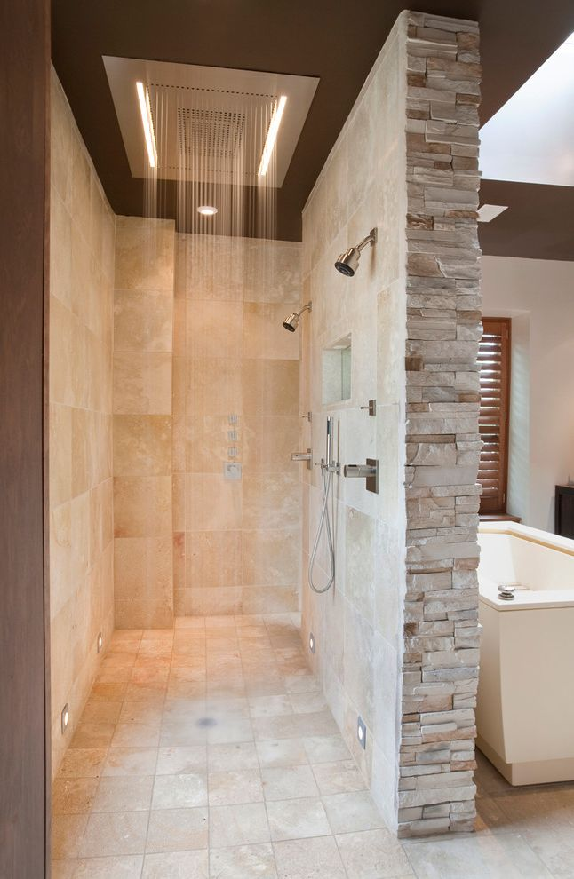 Travertine Tile Pros and Cons with Contemporary Bathroom  and Beige Stone Wall Double Shower Handheld Shower Head Multiple Shower Head Open Shower Oversized Shower Rain Shower Head Stacked Stone Shower Stacked Stone Wall Stone Floor Walk in Shower