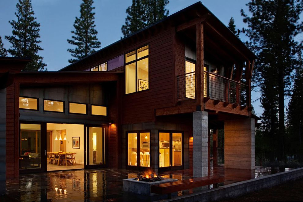 Travis Industries House of Fire   Contemporary Exterior Also Balcony Concrete Column Fire Pit Glass Door Handrail Metal Railing Outdoor Bench Outdoor Lighting Patio Sliding Door Wall Lighting Wood Bench Wood Column Wood Siding