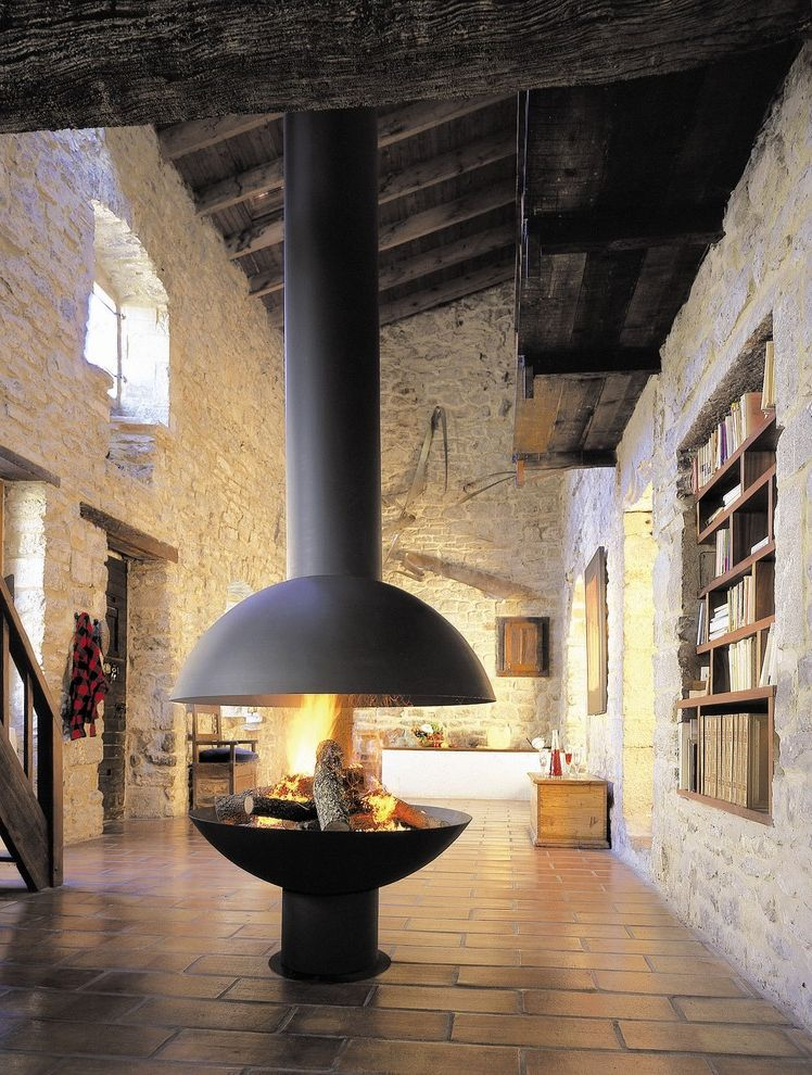 Travis Industries House of Fire   Industrial Spaces Also Bookshelf Contemporary European Fire Focal Point Industrial Modern Wood Sove Niche Rafter Stone Wall Tile Floor Timber Wood Beam Wood Burning Wood Ceiling Wood Stove