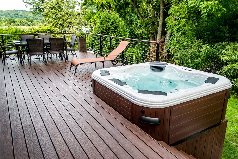 Trex.com with Contemporary Patio  and Bullfrog Spas Cable Rail Deck and Hot Tub Hot Tub Hot Tubs Long Island Hot Tub Modern Deck Pool Pools Swimming Pools Trex Trex Deck Trex Decking