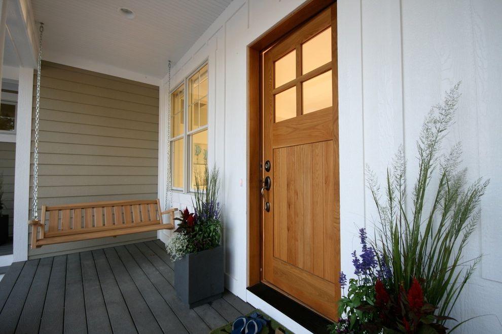 Trex Decking Colors   Beach Style Entry  and Beadboard Ceiling Board and Batten Cottage Craftsman Door Deck Grasses Lake House Lake Michigan Modern Cottage Modern Planter Porch Porch Swing Siding White Oak Entry Door