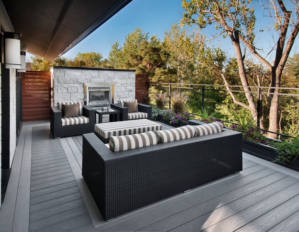 Trex Decking Colors with Contemporary Deck  and Container Gardening Deck Flowers Landscape Outdoor Fireplace Outdoor Living Space Patio Furniture Rattan Chairs Terrace