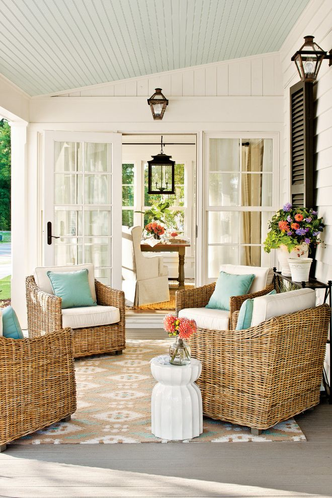 Trex Decking Colors with Farmhouse Porch  and Black Shutters Cottage Covered Porch Farmhouse French Doors Lantern Renovation Porch Shutters Wicker Furniture