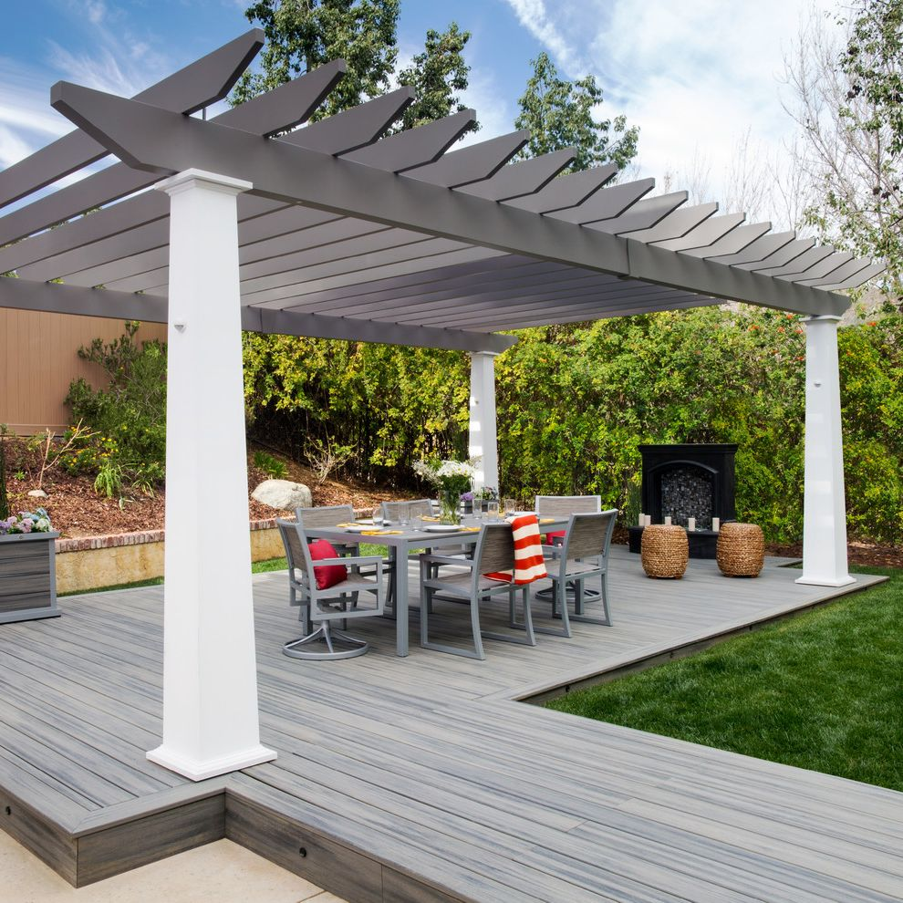 Trex Decking Prices   Contemporary Deck  and Alfresco Dining Gray Decking Gray Dining Set Gray Pergola
