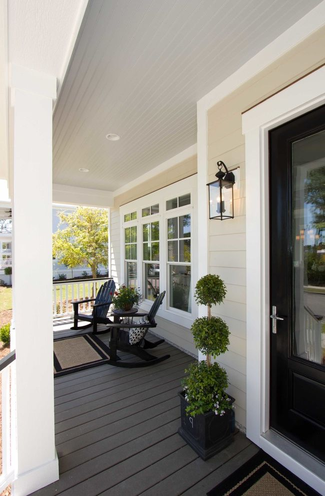 Trex Decking Prices   Traditional Porch Also Beige Black Door Light Blue Ceiling Panel Ceiling Panel Floor Panel Siding Recessed Lighting Sconce White Trim
