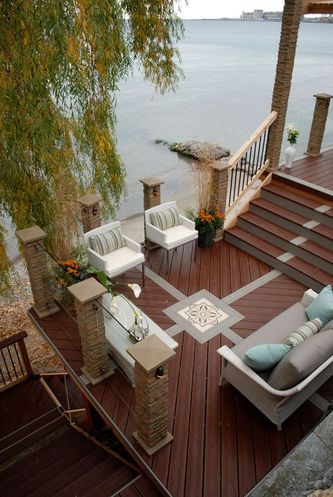 Trex Decking Prices   Transitional Deck Also Composite Deck Decorative Inlay Decorative Screen Glass Railings Lakeview Outdoor Furniture Outdoor Living Space Outdoor Seating Patio Furniture Resurfacing Stone Cladding Trex Waterfront Deck White Chairs