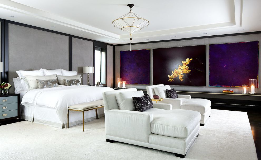 Tropitone Lounge Chairs with Contemporary Bedroom Also Blue and Black Bedside Tables Gray Fabric Walls Large Paintings Song Pendant Chandelier Tray Ceiling White and Gray Bed Skirt White Area Rug White Chairs White Duvet White Sheets