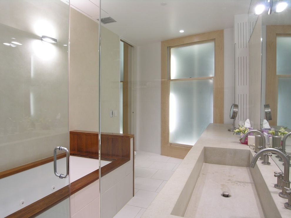 Trough Sinks with Two Faucets   Modern Bathroom Also Double Sinks Integrated Sink Minimalist Soaking Tub Tile Floors Wood Tub Surround
