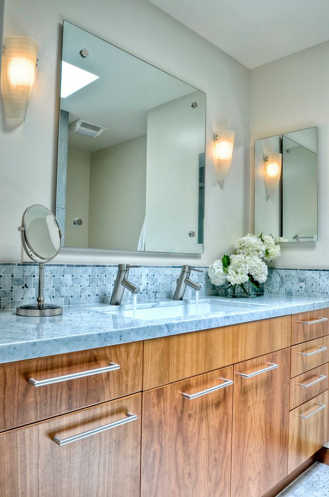 Trough Sinks with Two Faucets   Traditional Bathroom Also Basketweave Tile Carrera Marble Contemporary Lighting Sconces Gray Countertop Makeup Mirror Natural Cherry Single Handle Faucet Walker Zanger Wall Sconces