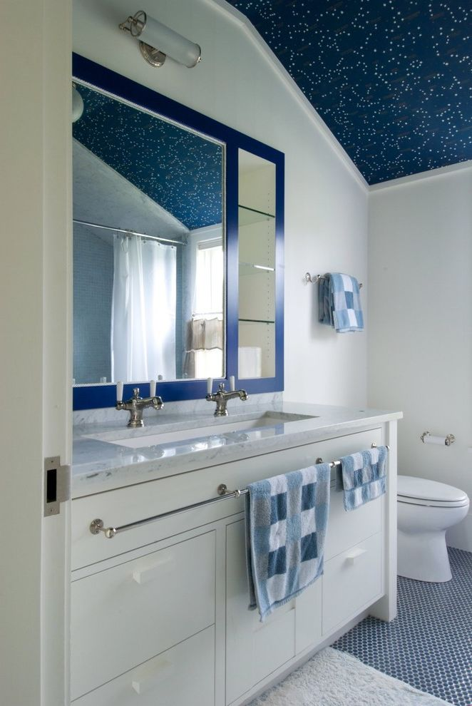 Trough Sinks with Two Faucets with Beach Style Bathroom  and Bath Mat Blue Ceilings Blue Floors Blue Mirror Ceiling Treatment Double Faucets Navy Blue Sconce Sink Sloped Ceiling Toilet Towels Vanity Storage White Vanity White Wall