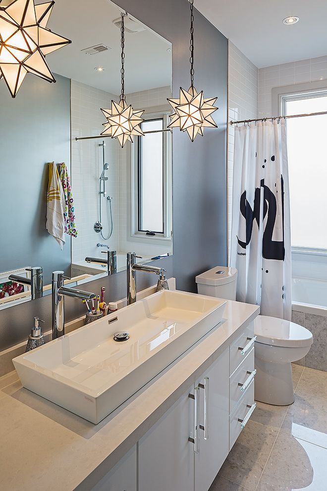 Trough Sinks with Two Faucets with Contemporary Bathroom  and Beige Countertop Black and White Gray Floor Tile Gray Wall Handshower Jack and Jill Sink Pendant Light Recessed Lighting Two Faucets Window in Shower