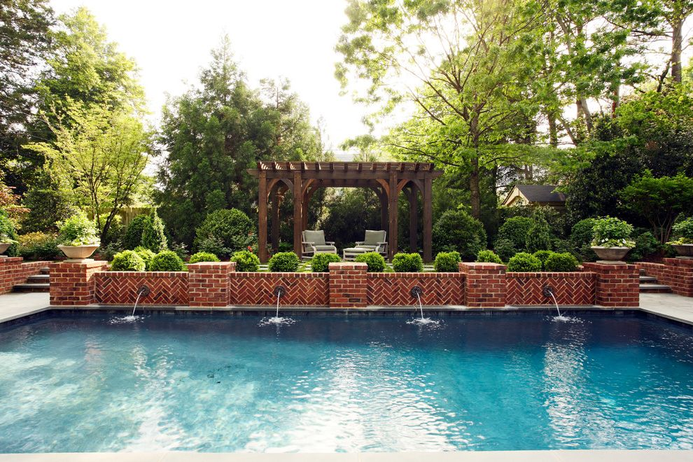 Tuckahoe Landscaping   Traditional Pool  and Brick Bushes Fountains Lounge Chairs Low Brick Wall Pergola Pool Potted Plants Scuppers Steps Trees Water Feature