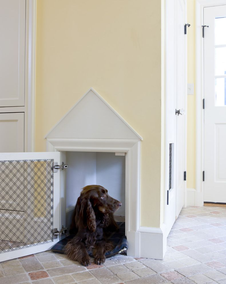 Tudor Definition   Traditional Entry Also Brick Floors Dog Dog Door Dog House Hallway Mudroom Yellow Walls