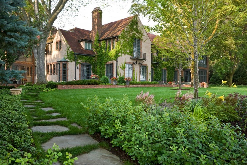 Tudor Definition   Traditional Landscape Also Bay Window Brick Brick Wall Climbing Plants Dormer Windows Estate French Doors Glass Doors Grass Lawn Mass Plantings Path Patio Doors Pavers Permeable Paving Steps Tudor Turf Walkway