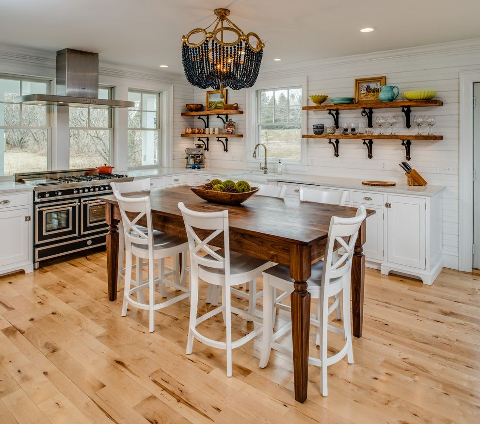 Tufted Counter Height Stools with Beach Style Kitchen Also Bead Chandelier Counter Stools French Stove Fruit Bowl Open Shelves Paneled Walls Row of Windows White Kitchen Window Over Kitchen Sink Wood Kitchen Island