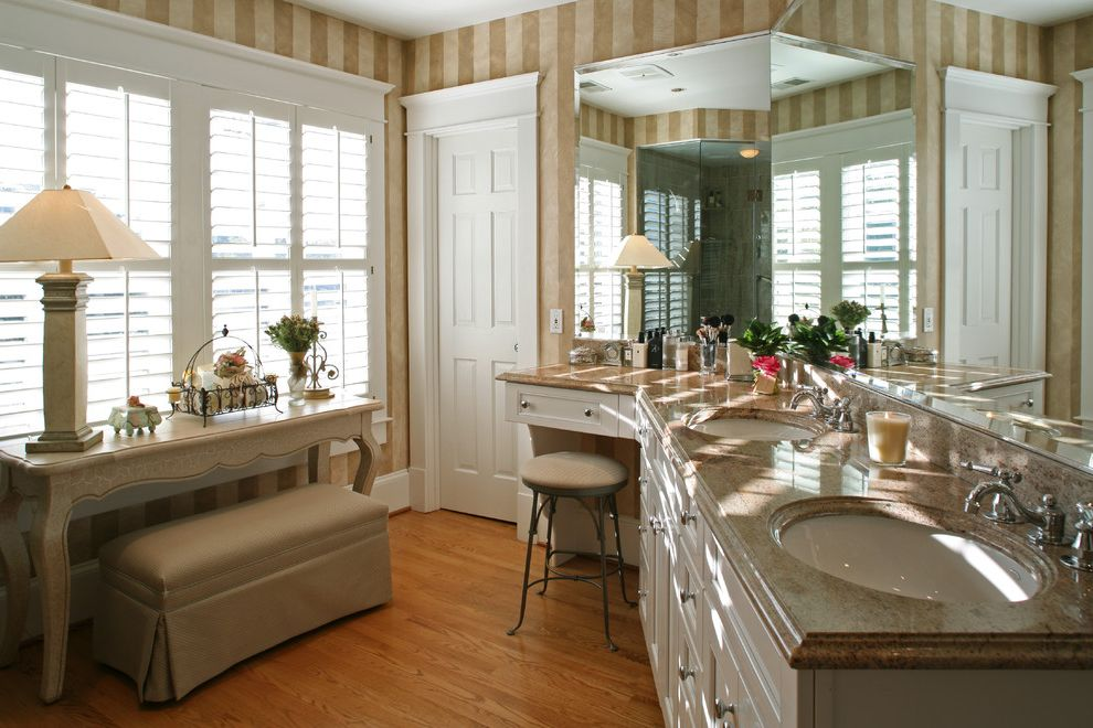 Tufted Counter Height Stools with Traditional Bathroom  and Beige Bench Seat Custom Woodwork Double Sinks Marble Counter Mirror Oval Sinks Shutter Striped Wallpaper Vanity White Trim Wood Floor