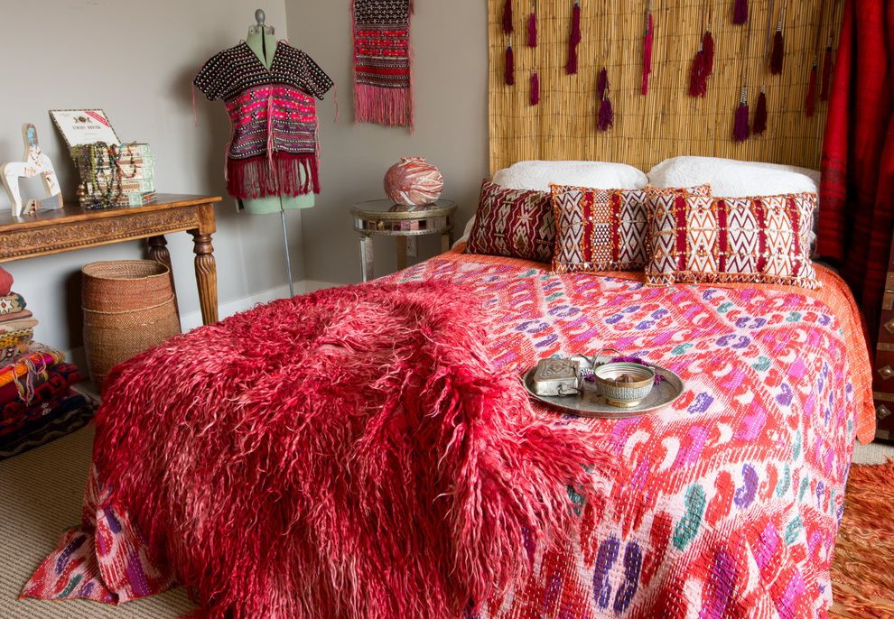 Tulu Textiles   Eclectic Bedroom  and Bedding Bedroom Decor Blankets Bohemian Boho Eclectic Ikat Kantha Patterns Pink Rug Products Red Red Bedding Textiles Tulu Rugs Vintage