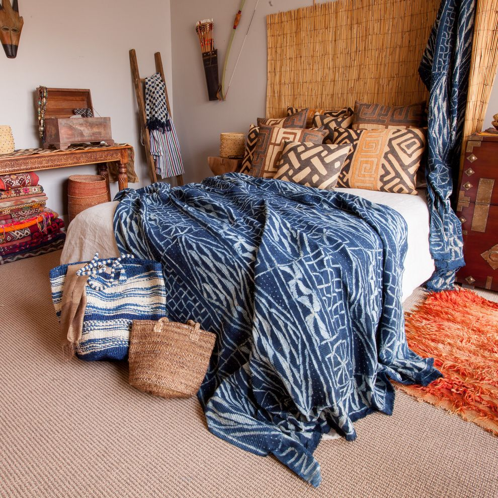 Tulu Textiles with Eclectic Bedroom Also Bedding Bedroom Decor Blankets Bohemian Boho Brown Pillows Eclectic Ikat Ikat Throw Indigo Kuba Kuba Pillows Products Textiles Vintage