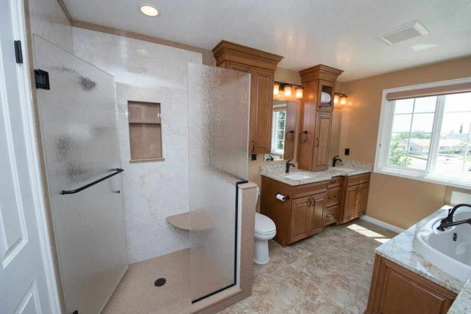 Tuscany Utah   Traditional Bathroom  and Bathroom Cultured Marble Surround Euro Shower Inset Sink Maple Wood Cabinets Rainglass Recessed Lighting Tile Flooring Tuscany Cabinetry Undermount Sink Wood Cabinets