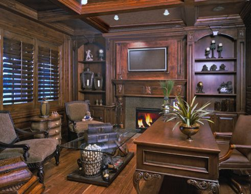 Tuscany Utah   Traditional Home Office  and Book Shevles Dark Wood Den Eruopean Fireplace Office Stained Wood Work Tuscany Wood Floors