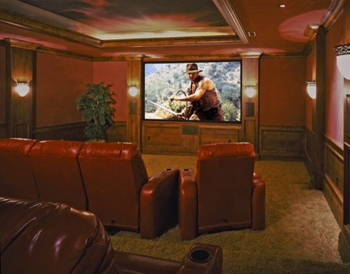 Tuscany Utah   Traditional Home Theater  and Movie Room Red Walls Theater Theater Room Tv Wood Panels