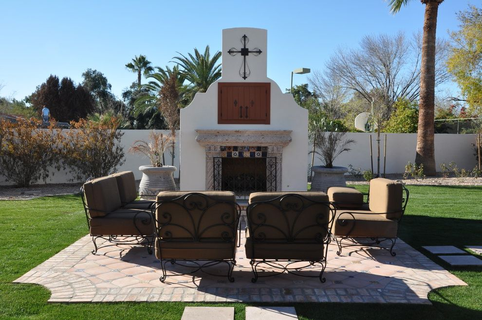 Tv Covers for Outdoors with Southwestern Landscape  and Container Plants Fireplace Screen Grass Hidden Tv Lawn Outdoor Cushions Outdoor Fireplace Outdoor Tv Patio Patio Furniture Potted Plants Terracotta Tiles Tile Paving Turf Tv Above Fireplace