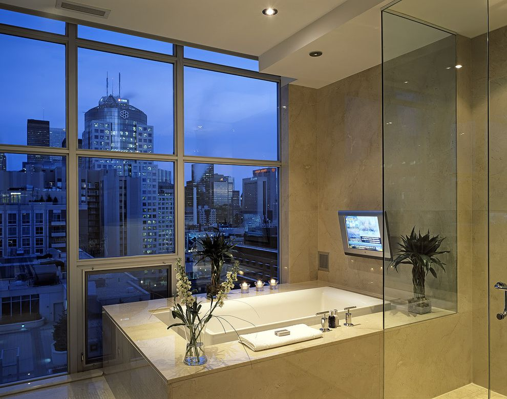 glass floor bathroom tv viewing distance with contemporary bathroom and bathtub 12964