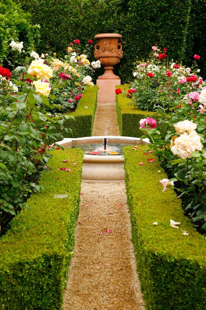 Types of Gravel   Mediterranean Landscape Also Bold Estate Garden Fountain Gravel Gravel Path Hedge Italisn Parterre Path Planting Pot Roses Screen Urn Water Water Feature