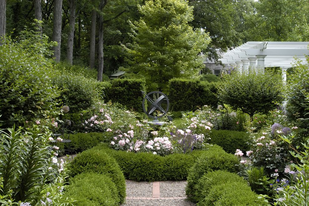 Types of Gravel   Traditional Landscape Also Brick Flowers Gravel Hedge Knot Garden Landscaping Path Pergola Pink Tapered Columns White Painted Wood