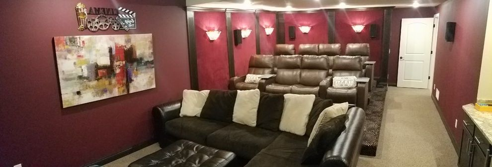 Tysons Theater with Transitional Home Theater Also Carpet Dark Wood Finish Home Theatre Seating Velvet Wall