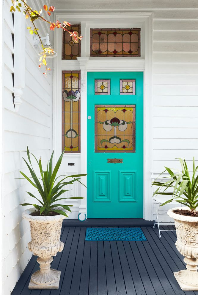 Ultra Thin Door Mat   Victorian Entry  and Federation Front Door Side Light Stained Glass Teal Transom Window Turquoise Door