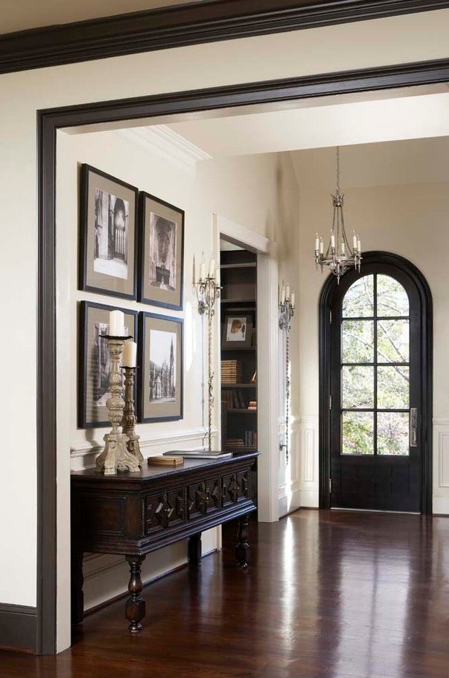 Ultra Thin Door Mat with Traditional Entry Also Antiques Arched Door Buffet Candle Sconce Chandelier Console Desk Dark Trim Entry Glass Door Gothic Hardwood Floor Photography