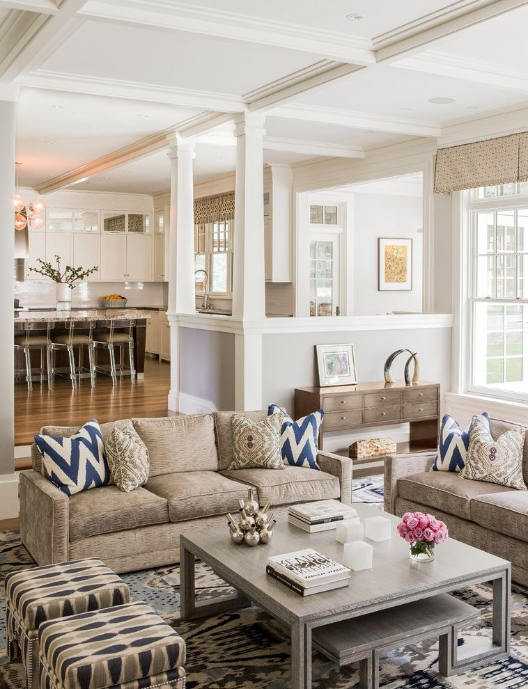 Umpqua Bank Near Me   Transitional Family Room Also Box Valance Curtains Brown and Blue Coffered Ceiling Family Room Ghost Barstools Gray Coffee Table Ikat Benches Ikat Pillows Pony Wall Square Columns Sunken Living Roomm